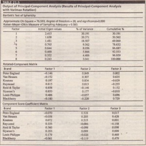 Output of Principal-Component Analysis (Results of Principal-Component Analysis with Varimax Rotation)